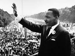 Black and white photograph of Martin Luther King, Jr. during March on Washington