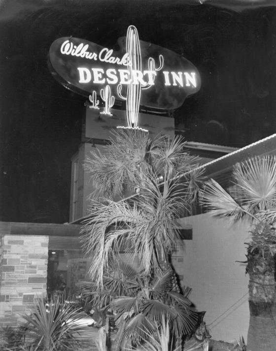 Neon sign at the entrance to Wilbur Clark's Desert Inn