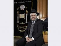 Rabbi Shea Harlig poses in the sanctuary of the Chabad of Las Vegas at 1261 Arville Street.