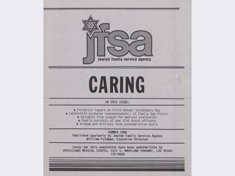 Jewish Family Service Agency newsletter, Summer 1986