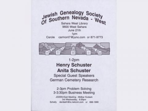 Jewish Genealogy Society of Southern Nevada meeting announcement, June 21 (no year given)