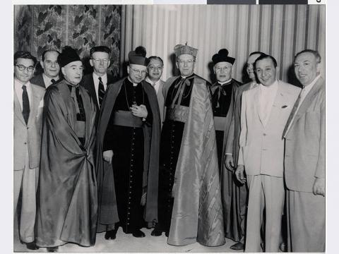 "Israel ""Icepick Willie"" Alderman (6th from left) at the construction of the Guardian Angel Cathedral, Las Vegas (Nev.) 1962"