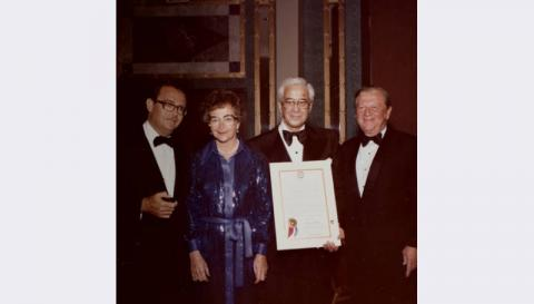 Jean and Billy Weinberger (center) at an Israel Bond dinner, circa 1975