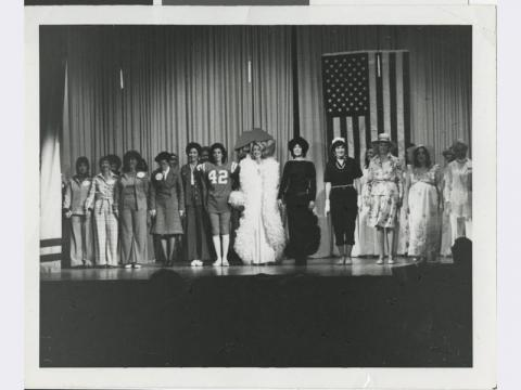 Sisterhood of Temple Beth Sholom presents Ladies in Politics: If We Ruled the World, 1976. Wilma Bass in jersey.