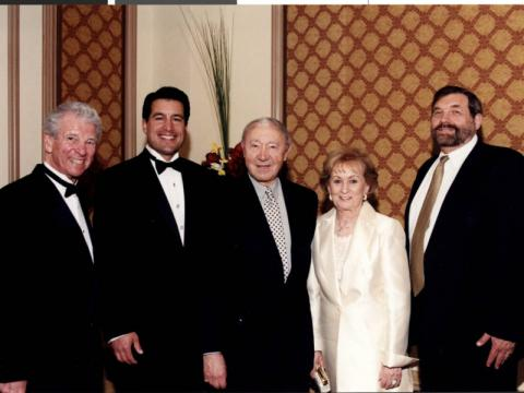 Unidentified man, Brian Sandoval, Henry and Lillian Kronberg, and Michael Cherry at formal event, 2003