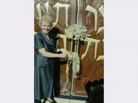 Sharon Sigesmund Pierce at the opening dedication of Temple Beth Sholom, 2000