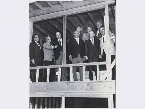 Construction of the Danny Kolod building at Temple Beth Sholom. First from left- Al  Benedict