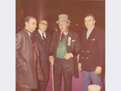 Stan Mallin, Herman Sarno, Jay Sarno, and an unidentified man at the opening of Circus Circus, Las Vegas, Nevada, October 1968