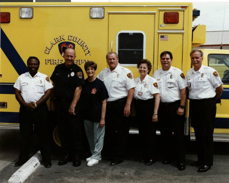 Shelley Berkley posing with Clark County Fire Department on May 16 2003