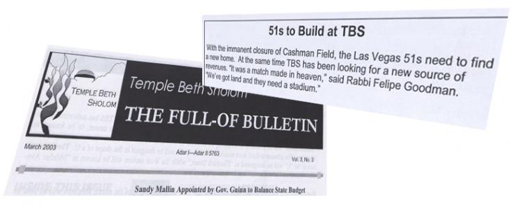 Headlines from Temple Beth Sholom Bulletin