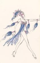 Costume design drawing, sheer blue showgirl costume with fuchsia jewels, Las Vegas, 1981