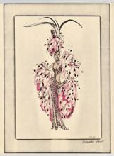 Pink and black feathered showgirl costume