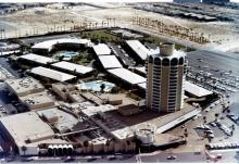 Sands Hotel, aerial view of tower, circa 1967