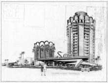 Architectural drawing, Sands Hotel, 1963