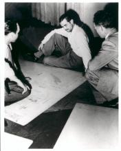 Hughes studying the drawings of Flying Boat.
