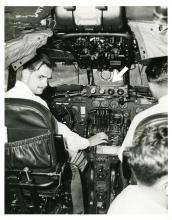 Hughes at the controls of TWA Constellation showing the radar equipment,1947.