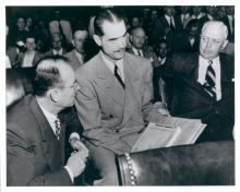 Thomas Black, Howard Hughes, Noah Dietrich during the Senate War Investigating Committee hearings, Aug. 6, 1947