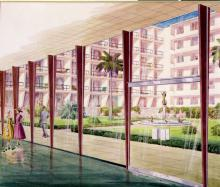 Artist's rendering of Hacienda courtyard, circa 1955