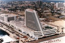 Aerial view of Showboat Hotel, 1987