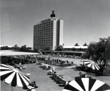 Pool area and hotel tower, Sahara, circa 1959