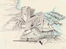 Architectural drawing of the Harrah's Marina Hotel Casino (Atlantic City), alterations and sketches of the site plan study showi