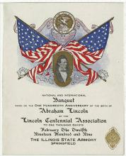 Banquet celebrating Lincoln's 100th birthday, February 12, 1909 at Illinois State Armory in Springfield