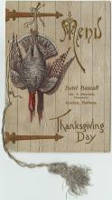 Thanksgiving Day menu, 1899 at Hotel Hascall (Goshen, Indiana).