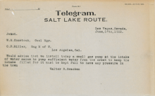 Telegram from Walter R. Bracken to W. H. Comstock and C. F. Miller, June 16, 1922
