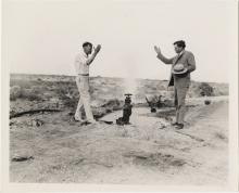 Photograph of Fred Hesse and Fred Balzar opening an artesian well in Las Vegas, circa 1930