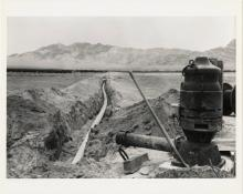 Photograph of irrigation pump and water line, Amargosa Valley, Nevada, 1980