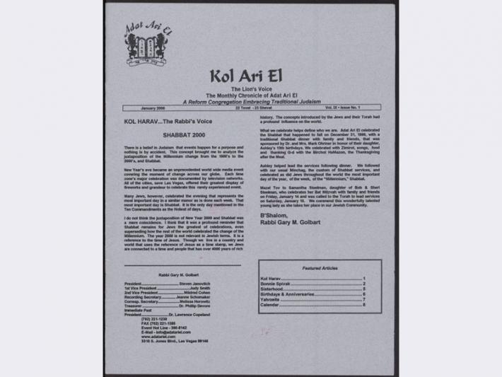 Kol Ari El newsletter from Adat Ari El, January 2000