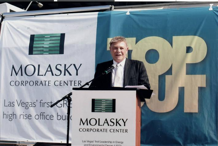 Irwin Molasky at the groundbreaking ceremonies for the Molasky Corporate Center, 2006