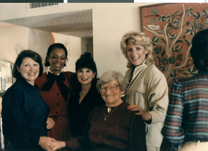 Photograph of Jayne Marshall (middle) and others at Lynn Rosencrantz's 40th birthday party, date unknown