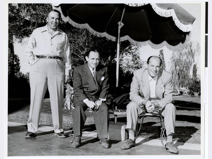 Gus Greenbaum (right), Moe Sedway (center), and an unidentified man (left) most likely in Las Vegas, Nevada.