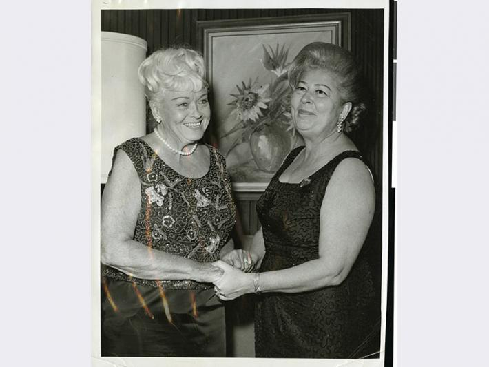 Grace Hayes, left, and Bess Rosenberg, right, at a Christmas event in Las Vegas, Nevada.