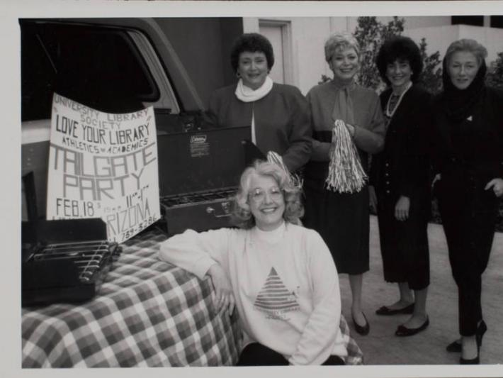 Library Society Tailgate party, University of Nevada, Las Vegas, February 18, 1990. (Renee Diamond is standing on the far left)