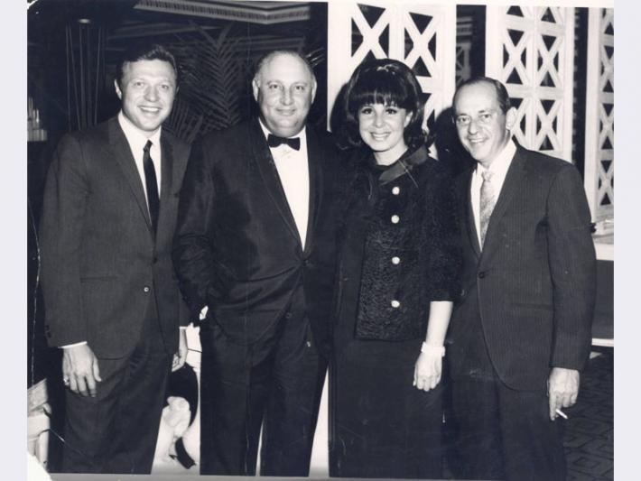 Photograph of Steve Lawrence, Jay Sarno, Edyie Gormé and Nate Jacobson, Las Vegas, Nevada, August 25, 1966